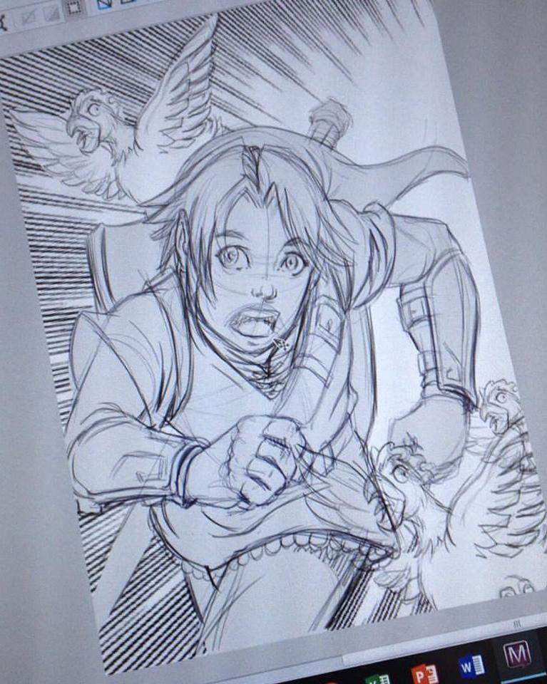 Rascunho do personagem principal do jogo Zelda, feito por Alzir; em seguida,a mesma imagem finalizada, após receber as cores digitais do artista