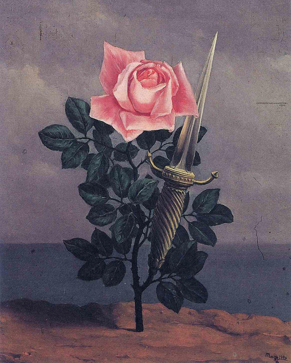 19 - René Magritte também trouxe o tema das flores para a sua arte surrealista, em  'The Blow To The Heart'  (1952)