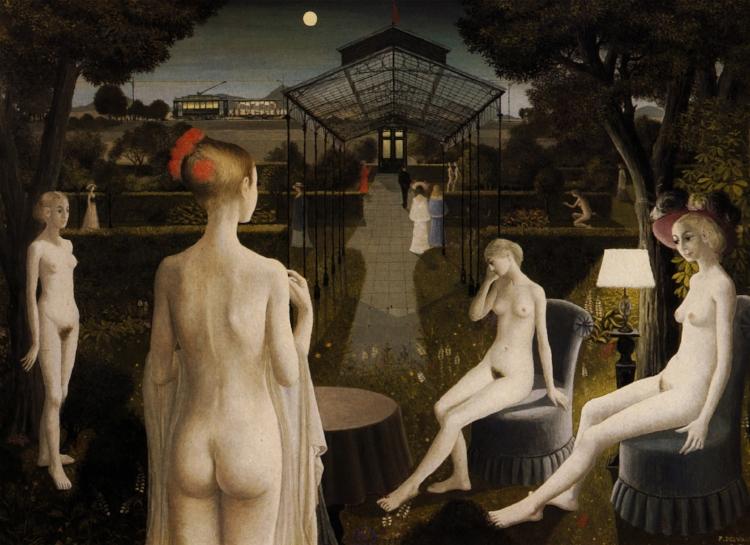 20 - Outro que também se aproximou do surrealismo foi Paul Delvaux ( que já mereceu um post só pra ele por aqui ). Esse é  'O Jardim' , de 1971