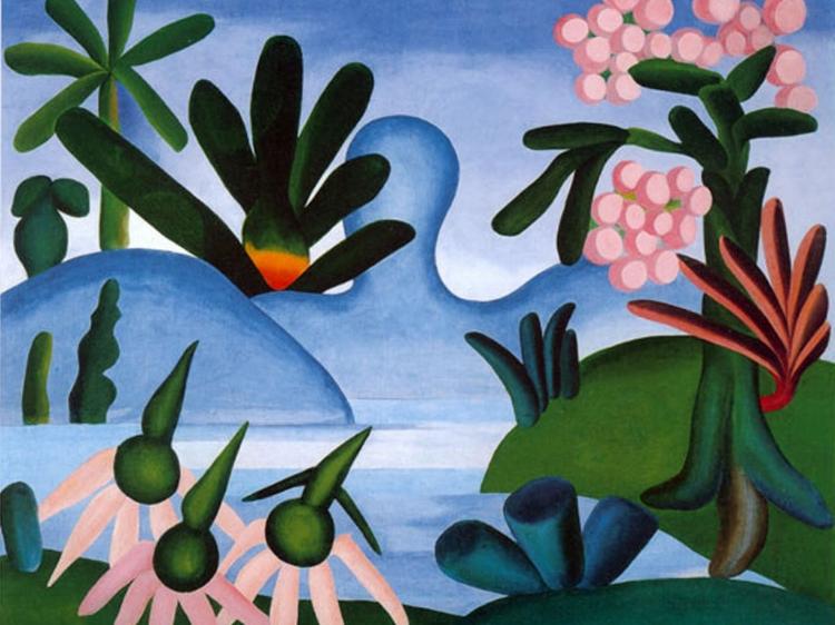17 - O lado tropical da flora em  'O Lago'  (1928), de Tarsila do Amaral