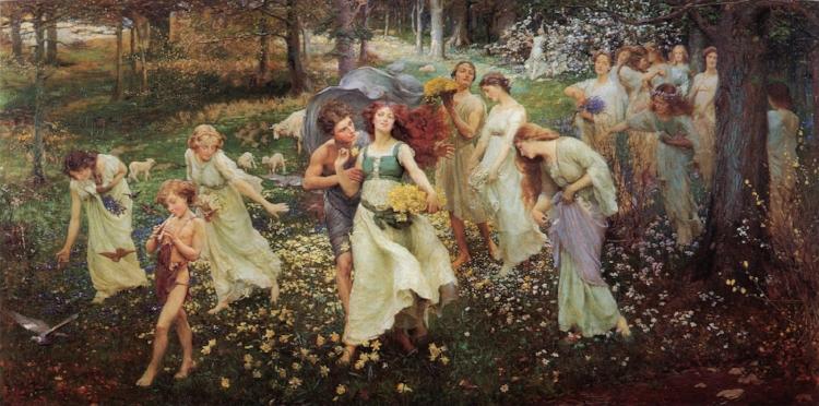 16 -  Charles Daniel Ward continuou no caminho da arte figurativa, mesmo com as vanguardas europeias em ebulição, como vemos em  'O Progresso da Primavera'  (1905)