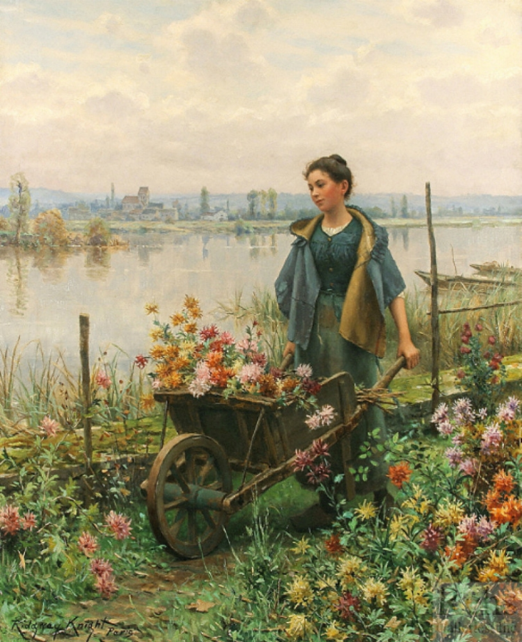 8 -  'Gathering Flowers'  (Século XIX), do americano Daniel Ridgway Knight