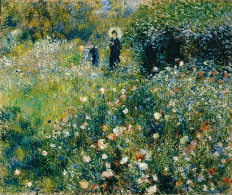 10 - O impressionismo de Renoir em  'Mulher com Guarda-sol em um Jardim'  (1875)