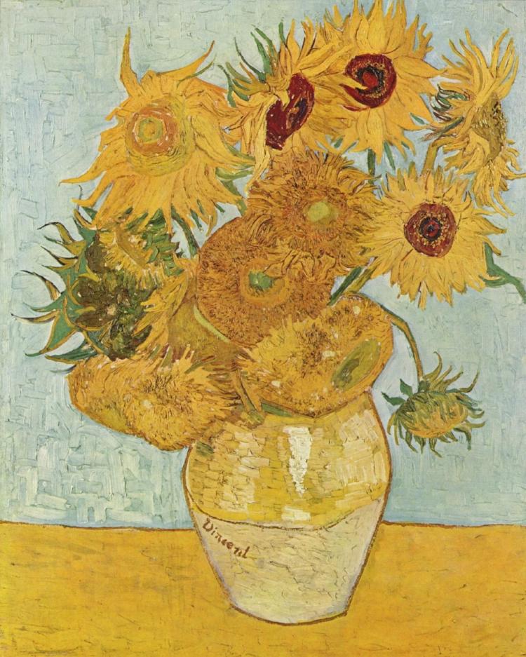 13 - O clássico  'Doze girassóis numa jarra'  (1888), de Vincent Van Gogh