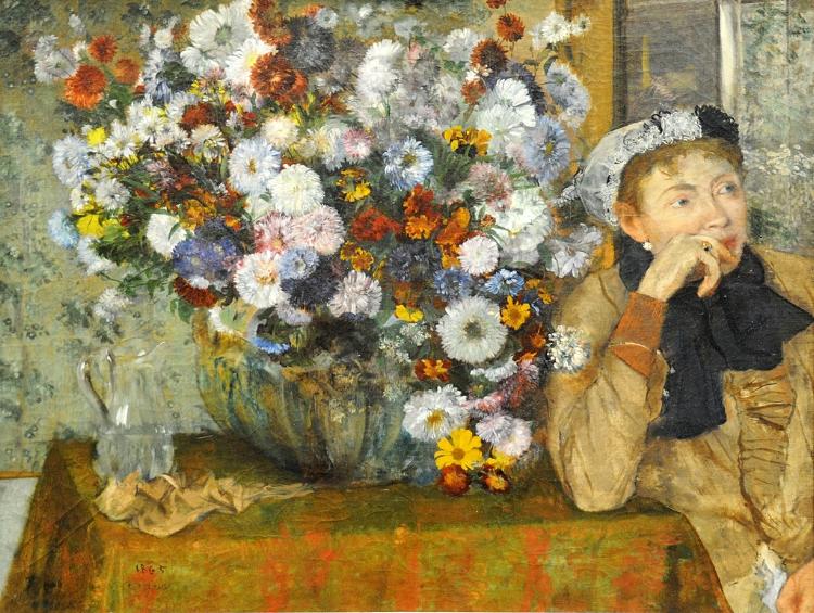 9 -  'Mulher Sentada ao Lado de Um Vaso de Flores'  (1865), de Edgar Degas