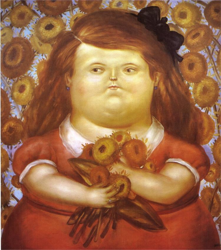 21 -  'Mulher com Flores'  (1976), do colombiano Fernando Botero