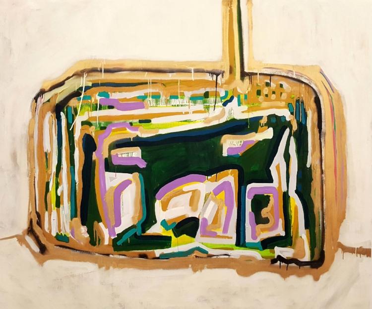 As pinturas de Leonardo Versieux são geralmente cheias de movimento, traços espessos e cores fortes
