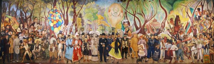 Mural  'Sueño de um domingo por la tarde em la Alameda Central' (1947), de Diego Rivera
