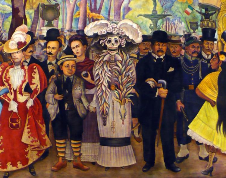 Detalhe da pintura de Rivera. La Catrina encontra-se no centro, de braço dado com Posada (seu criador) e segurando a mão esquerda do próprio Diego Rivera. Logo atrás, vemos Frida Kahlo segurando o símbolo yin-yang