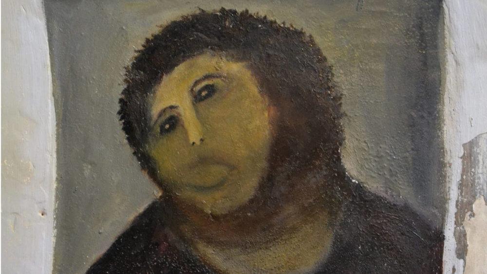 A versão de dona Cecilia Giménez para  'Ecce Homo'  acabou se tornando mais famosa que a obra original