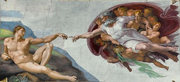 'A Criação de Adão'  (1511), parte do afresco pintado por Michelangelo na Capela Sistina,Vaticano. As obras de Michelangelo são inspiradoras para André