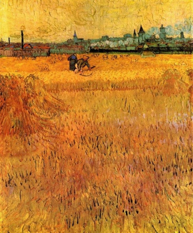 'Arles Vista do Campo de Trigo'  (1889). O amarelo é uma cor recorrente na obra de Van Gogh