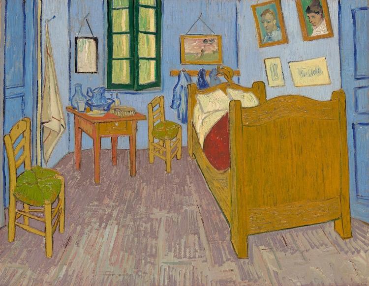 'Quarto em Arles'  (1888). Até os motivos mais corriqueiros do cotidiano serviam de motivo para Van Gogh pintar