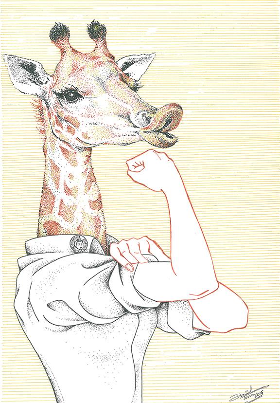As girafas e seus longos pescoços serviram de inspiração para Daniel Torres