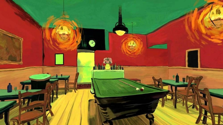 A obra  'The Night Café' , de Mac Cauley, recria digitalmente uma pintura famosa de Van Gogh