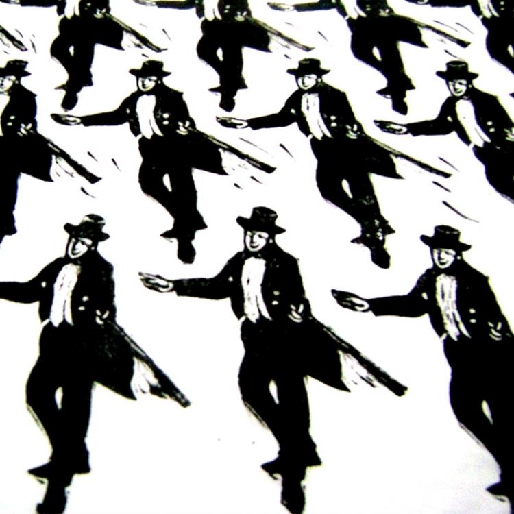Figuras de Regina Carvalho, feitas em linóleo, dançam diferentes ritmos
