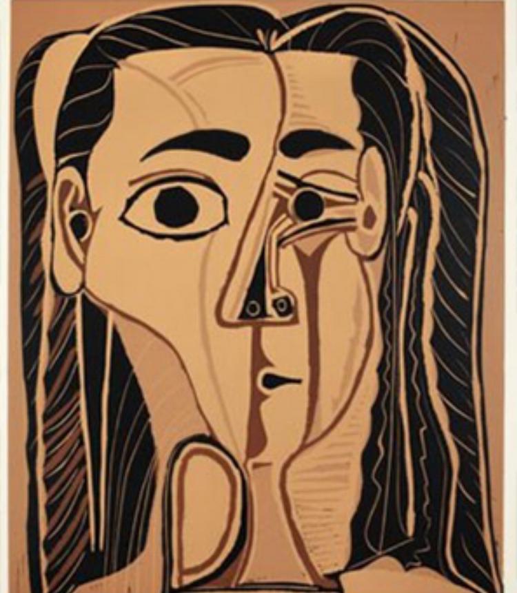 Retrato da segunda esposa de Pablo Picasso. O artista também criava gravuras em linóleo