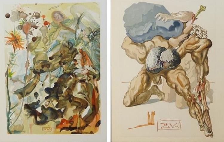 Gravuras de Salvador Dalí para a edição comemorativa de 700 anos de nascimento de Dante