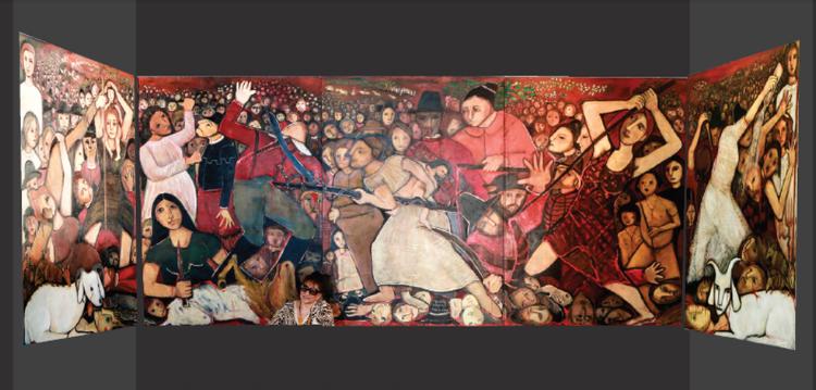 Novo painel de Tereza Costa Rêgo tem 8m x 2,2m e retrata uma cena histórica vivida durante a invasão holandesa
