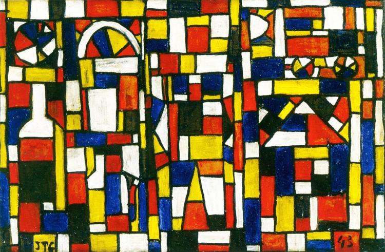 5 - O artista também favorecia as cores primárias em seu trabalho. Torres García buscava o essencial e universal da pintura