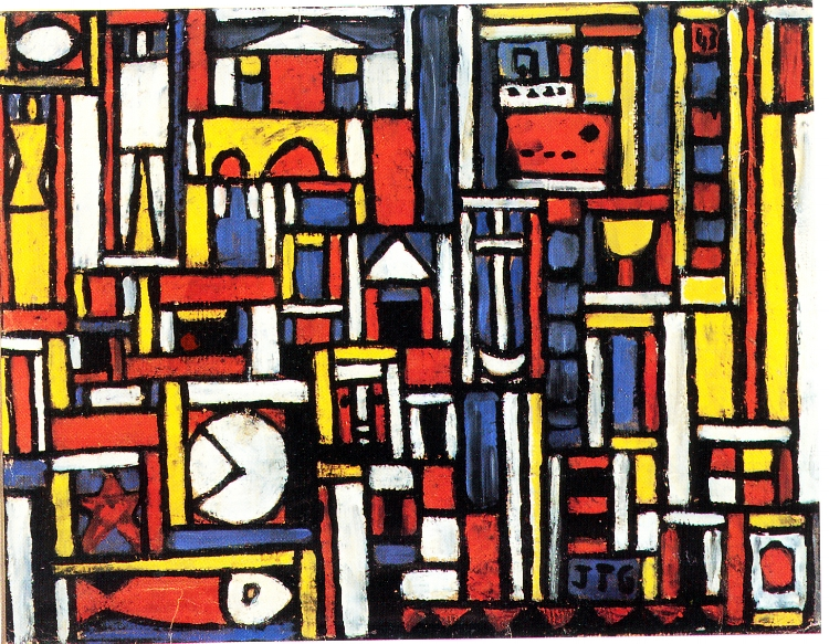 6 - É recorrente também as linhas retas horizontais e verticais, com as quais o artista  'enquadrava'  os símbolos presentes nos quadros