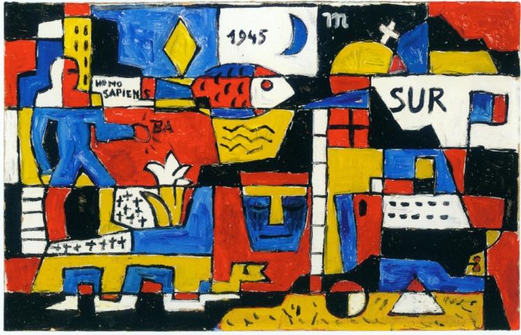 13 - O peixe também é um símbolo recorrente nas obras de Torres García, assim como a relação do artista com a parte  'sur' (sul) da América