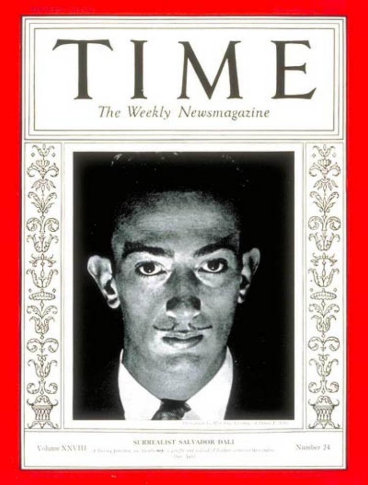 Salvador Dalí na capa da edição de dezembro de 1936 da revista americana  Time