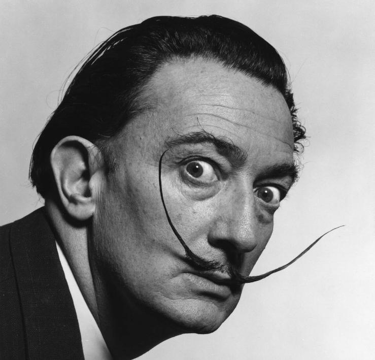 Foto icônica de Dalí, com o famoso bigode