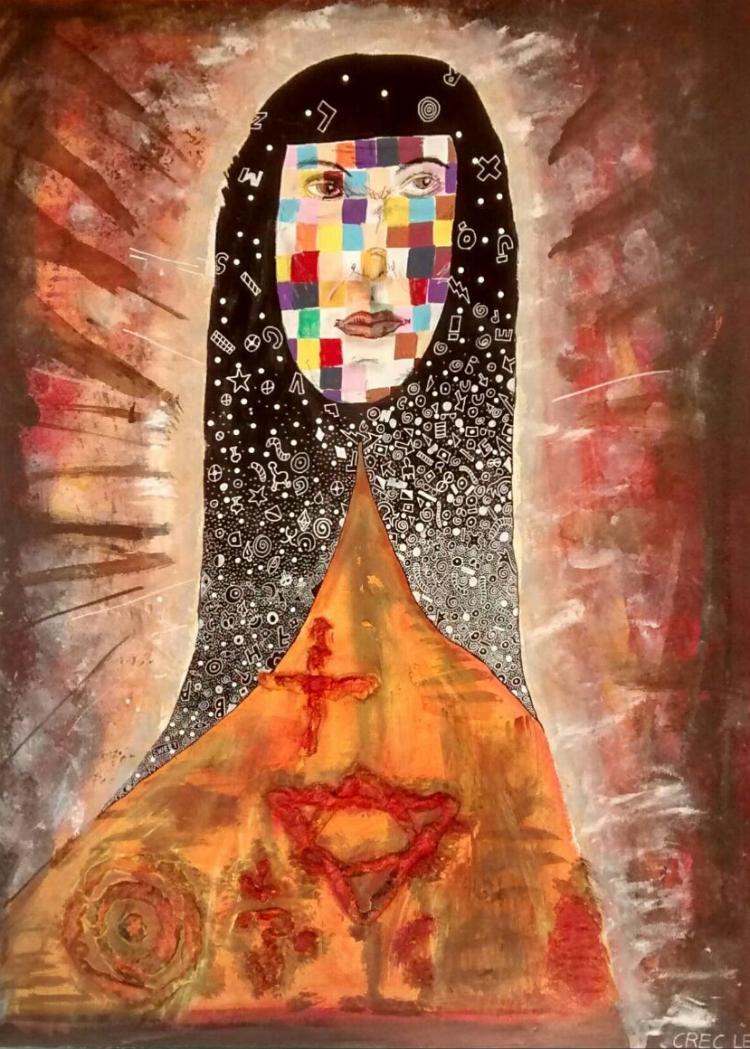 A pintura sacra de Crec Leão é cheia de cor e elementos que remetem à contemporaneidade