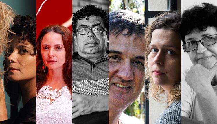 Os artistas alagoanos Karla Melanias, Hilda Moura, Rosivaldo Reis, Francisco Oiticica, Renata Voss e Eva Cavalcante