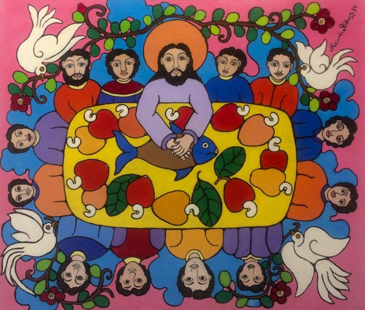 As obras de Alexandre Filho encantam pela simplicidade do traço e pela riqueza das cores sólidas