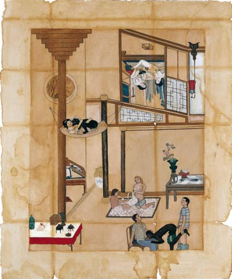 'Cena de interior II'  (1994), da artista Adriana Varejão, uma das obras mais comentadas da exposição e que levanta questionamentos sobre práticas sexuais recorrentes no interior do Brasil, segundo a artista