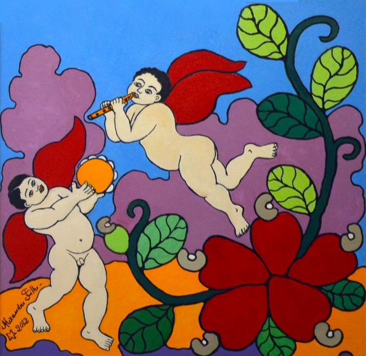 A memória coletiva da cultura nordestina é uma constante nas pinturas do artista, assim como a flora da região