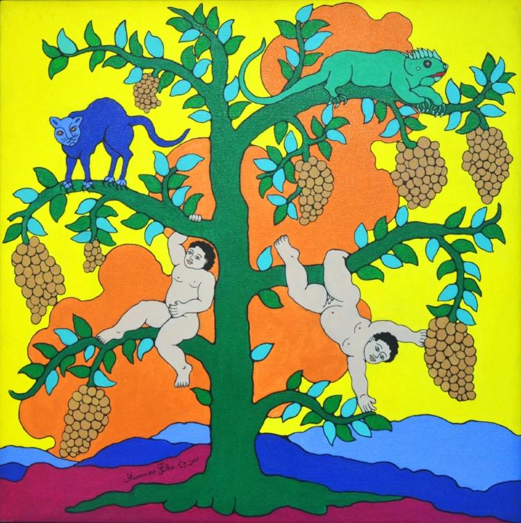 As telas de Alexandre Filho são marcadas pela abundância de cores luminosas e pela referência à cultura nordestina, sempre representada de forma poética