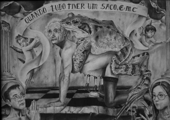 Einstein sob nova perspectiva. Grafite sobre papel de Edilberto Sobrinho