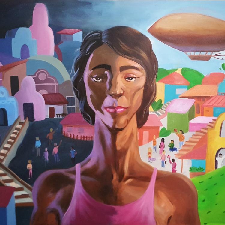 'Geni',  pintura sobre tela de Ariell Guerra. A obra homenageia a personagem da música  'Geni e o Zepelim' , de Chico Buarque