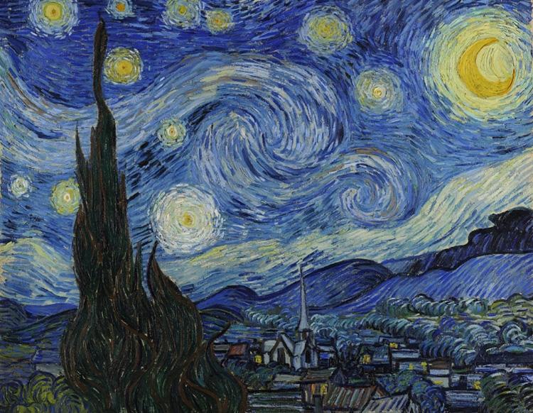Reproduções das pinturas  'A Noite Estrelada'  (1889) e  'Quarto em Arles'  (1887), ambas assinadas por Van Gogh