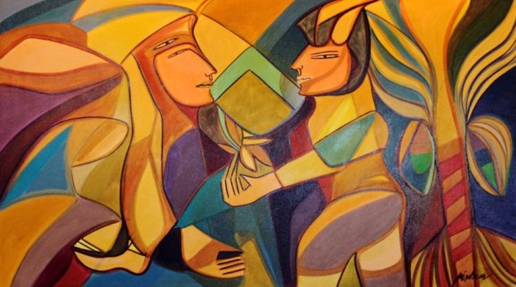 A postura das figuras podem remeter à pintura egípcia
