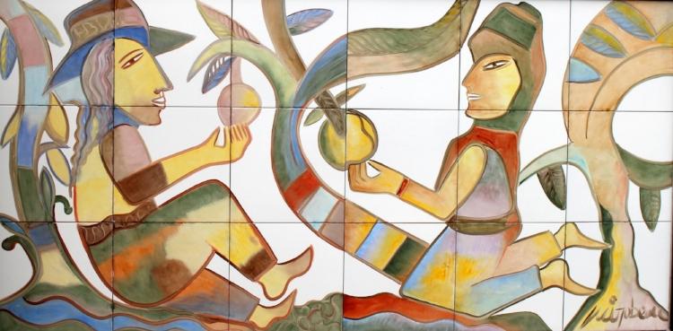 Pintura de Mirabeau Menezes sobre azulejos