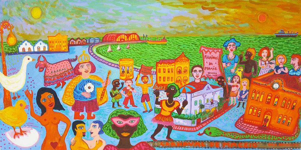 Pintura de Lula Nogueira. Um panorama da folia maceioense
