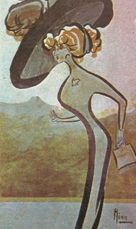 Uma das primeiras caricaturas de Nair de Teffé