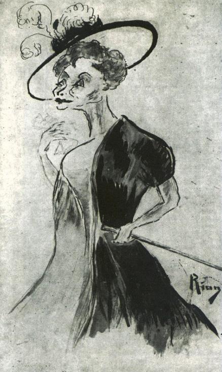 Caricatura da atriz francesa Gabrielle Réjane, publicada por Nair de Teffé em 1909 na revista Fon-Fon