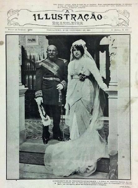 O casamento de Nair de Teffé com o presidente Hermes da Fonseca foi capa de diversas revistas na época