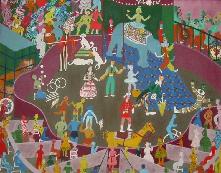 'Circo'  (1957), óleo sobre tela de Elisa Martins da Silveira