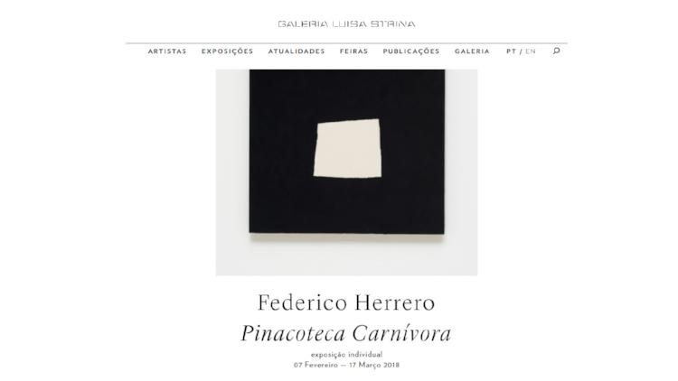 Página inicial do site da Galeria Luisa Strina, que está servindo de modelo para a Enciclopédia de Artes Visuais do Piauí. A ideia é deixar o site clean para que as imagens falem por si