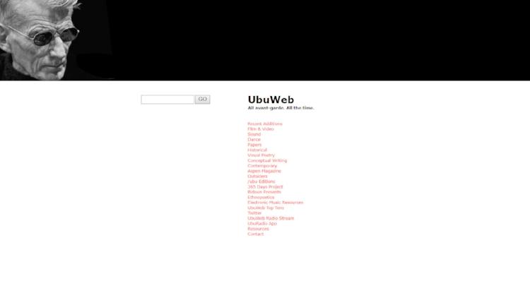 Página inicial da plataforma UbuWeb, voltada às manifestações artísticas experimentais