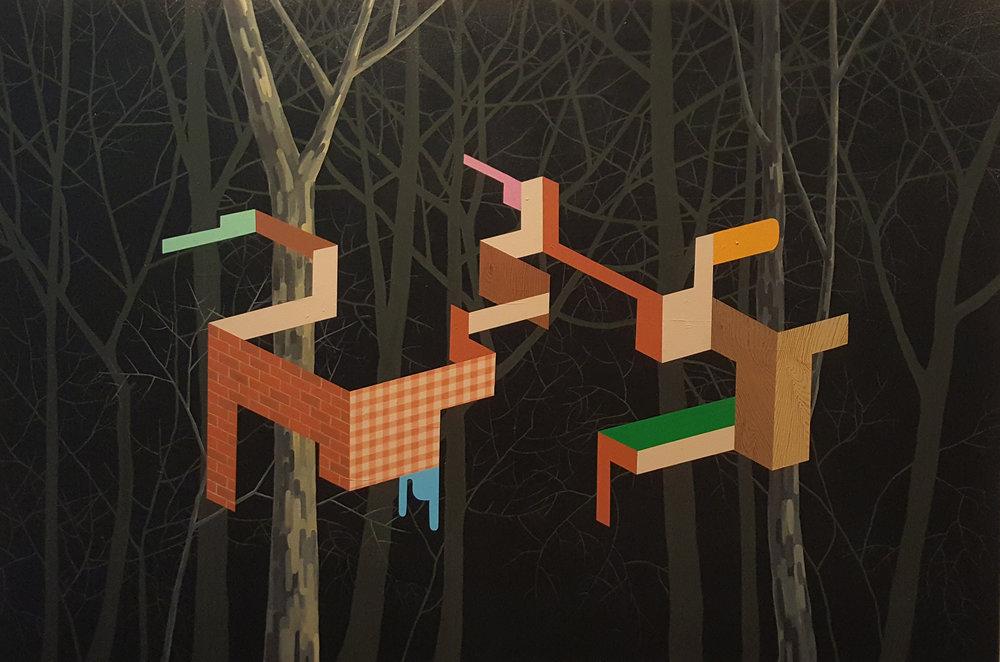 Pintura sobre tela de James Kudo, um dos artistas que integram a exposição