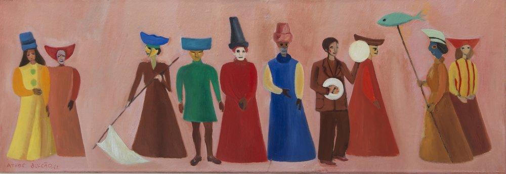 Da série  'Carnaval' , óleo sobre tela assinado por Athos Bulcão