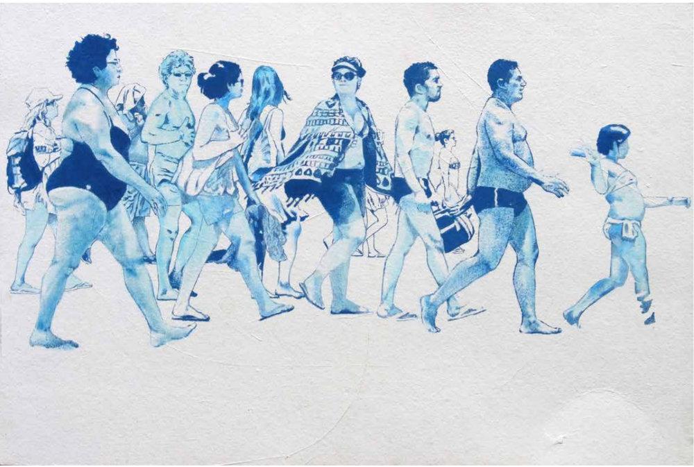'Contra-ataque'  (2017), acrílica e marcador sobre papel de Pedro Marighella