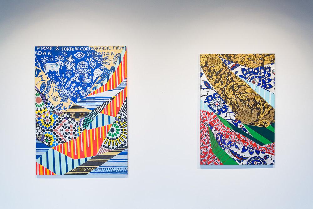 Obras  'Ibadan'  (2016) e  'Passarinhos'  (2016), da série  'Tropical',  de Ananda Nahu. Técnica: acrílico sobre tela